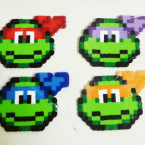 Teenage Mutant Ninja Turtles Perler Bead Christmas Tree Topper and Ornament Set (5 Piece) by LighterCases